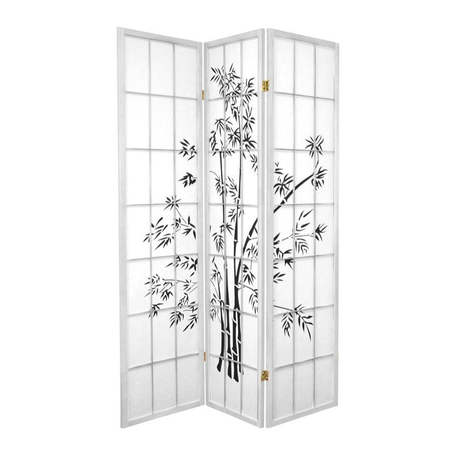 Oriental Furniture Lucky 3-Panel White Wood and Paper Folding Indoor Privacy Screen