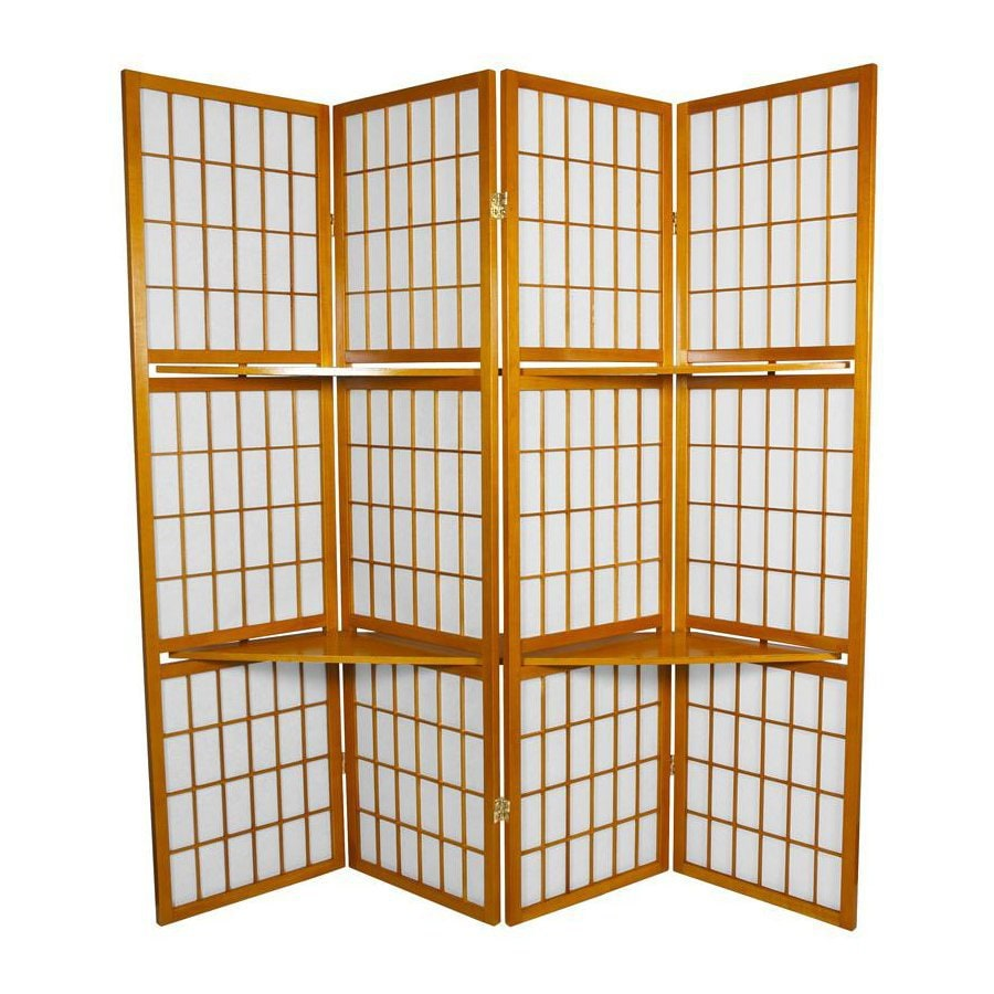 Oriental Furniture Window Pane 4-Panel Honey Wood and Paper Folding Indoor Privacy Screen