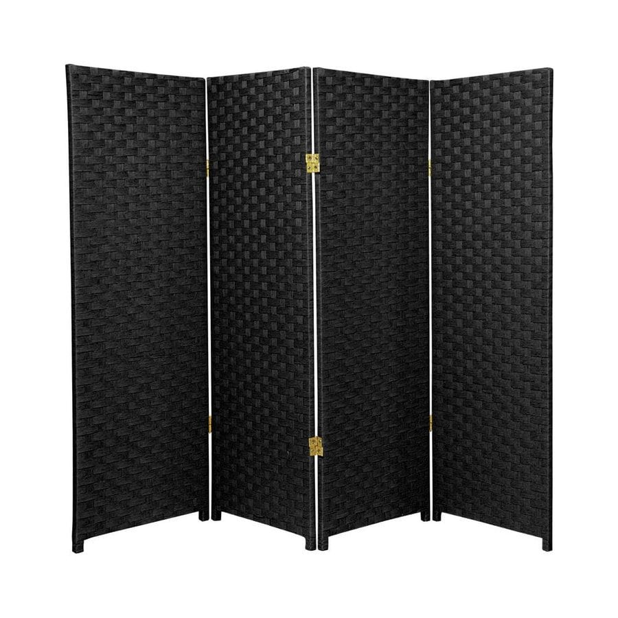 Oriental Furniture 4-Panel Black Wood and Rattan Folding Indoor Privacy Screen