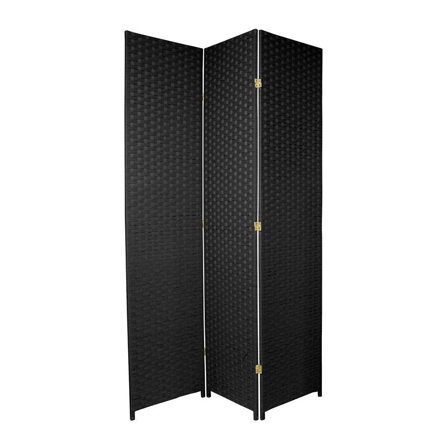Oriental Furniture 3-Panel Black Wood and Rattan Folding Indoor Privacy Screen