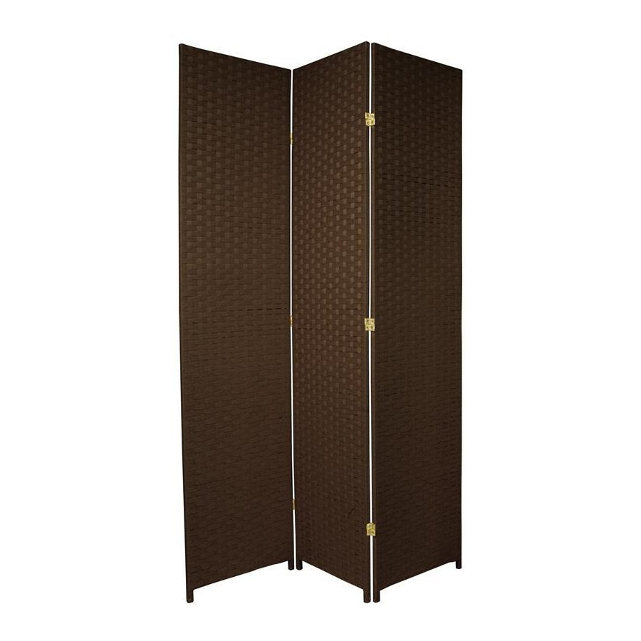 Shop oriental furniture 3 panel dark mocha wood and rattan for Wood privacy screen panels