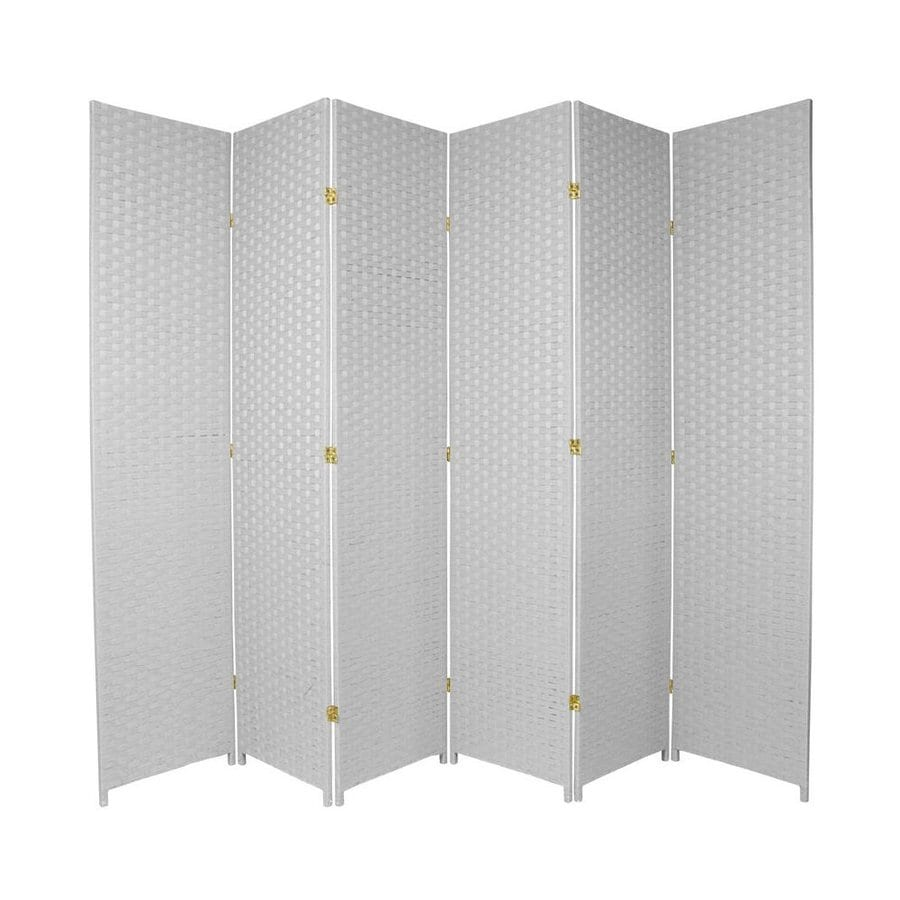 Oriental Furniture 6-Panel White Wood and Rattan Folding Indoor Privacy Screen