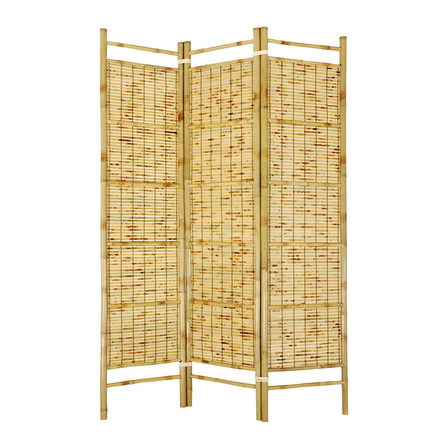 Oriental Furniture Burnt Bamboo 3-Panel Natural Bamboo and Bamboo Folding Indoor Privacy Screen