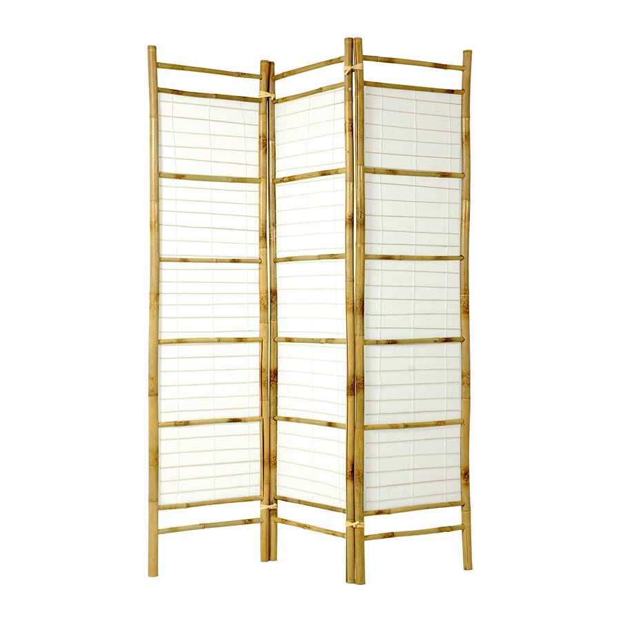 Oriental Furniture Burnt Bamboo 3-Panel Natural Bamboo and Paper Folding Indoor Privacy Screen