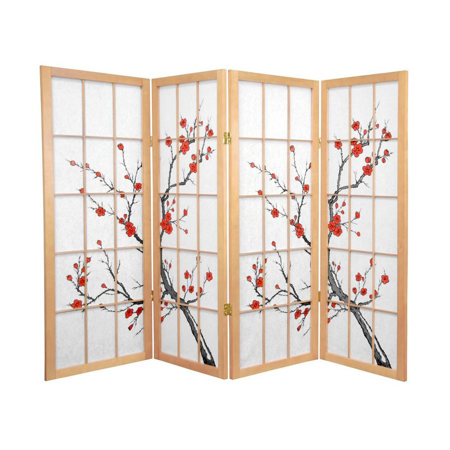 Oriental Furniture Cherry Blossom 4-Panel Natural Wood and Paper Folding Indoor Privacy Screen