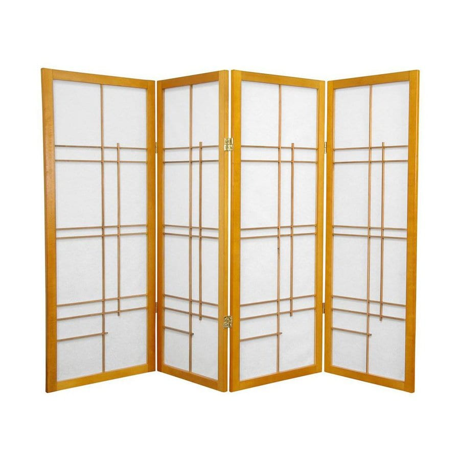 Oriental Furniture Eudes 4-Panel Honey Wood and Paper Folding Indoor Privacy Screen