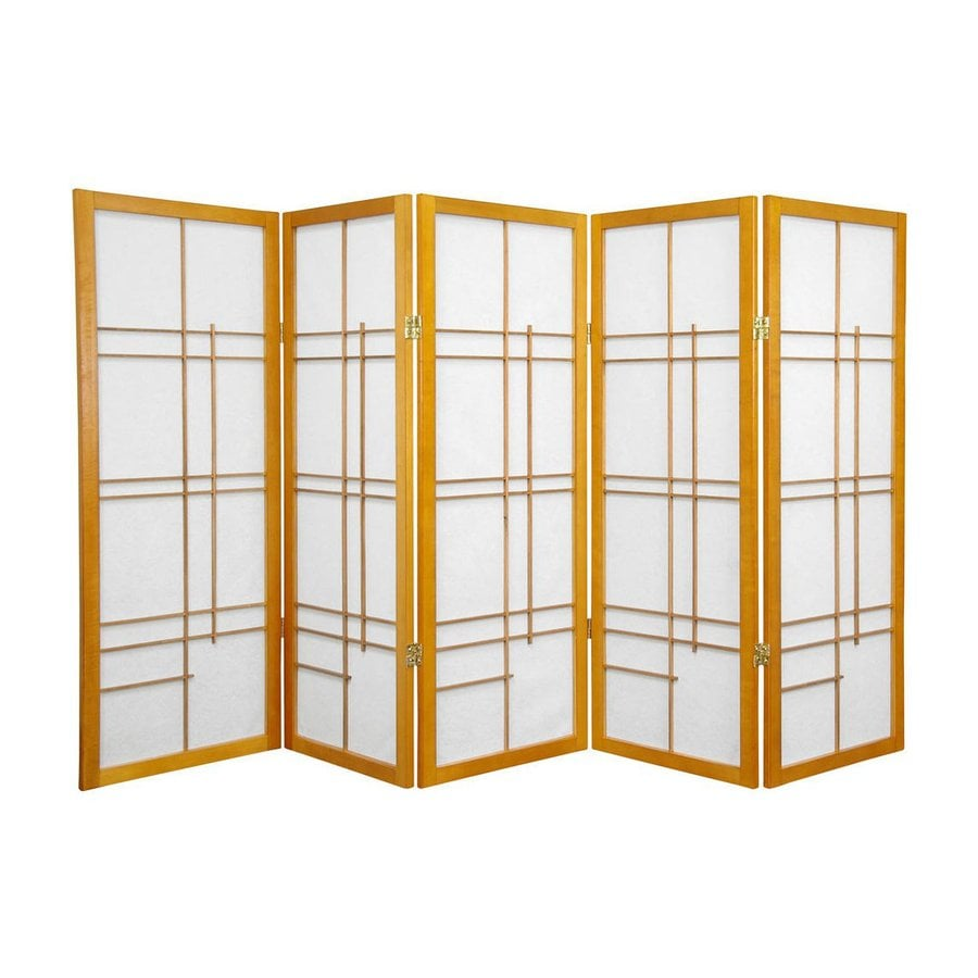 Oriental Furniture Eudes 5-Panel Honey Wood and Paper Folding Indoor Privacy Screen