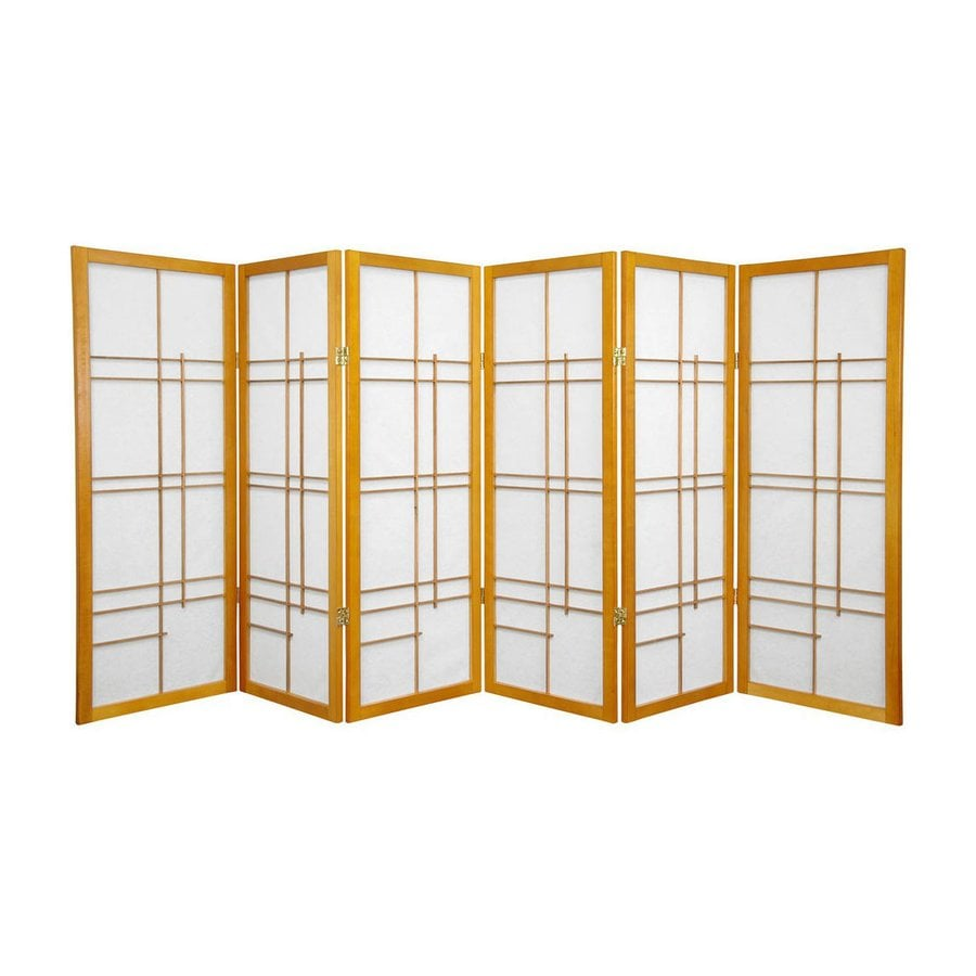 Oriental Furniture Eudes 6-Panel Honey Wood and Paper Folding Indoor Privacy Screen