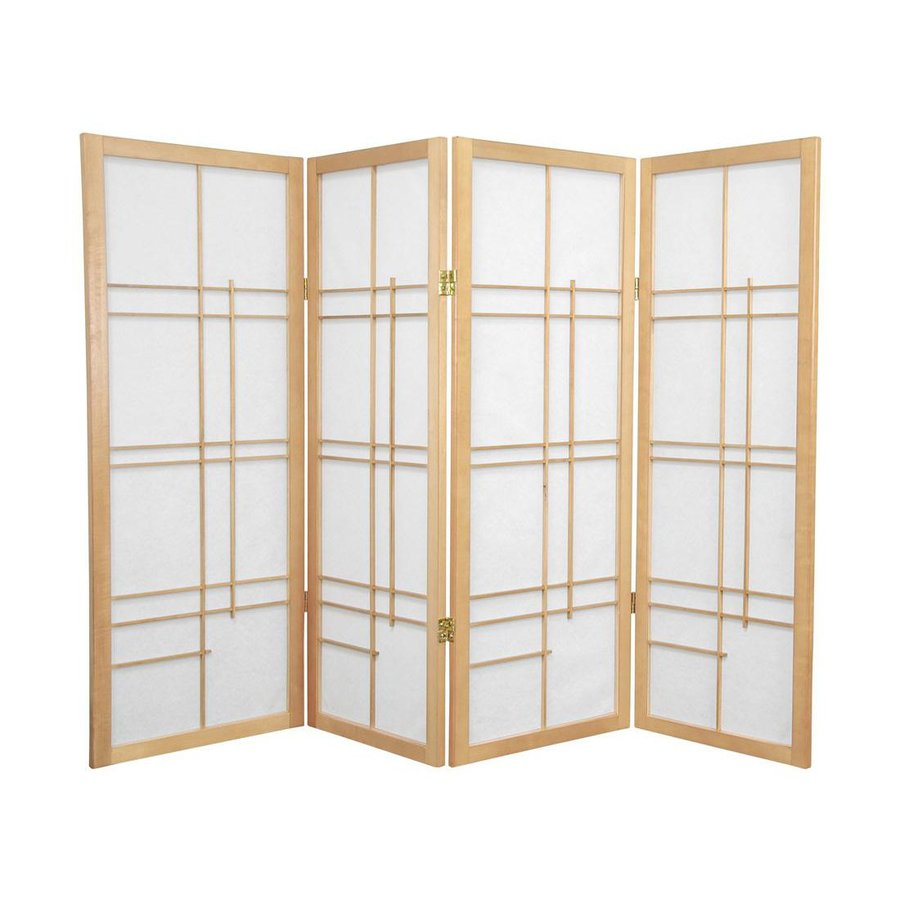 Oriental Furniture Eudes 4-Panel Natural Wood and Paper Folding Indoor Privacy Screen
