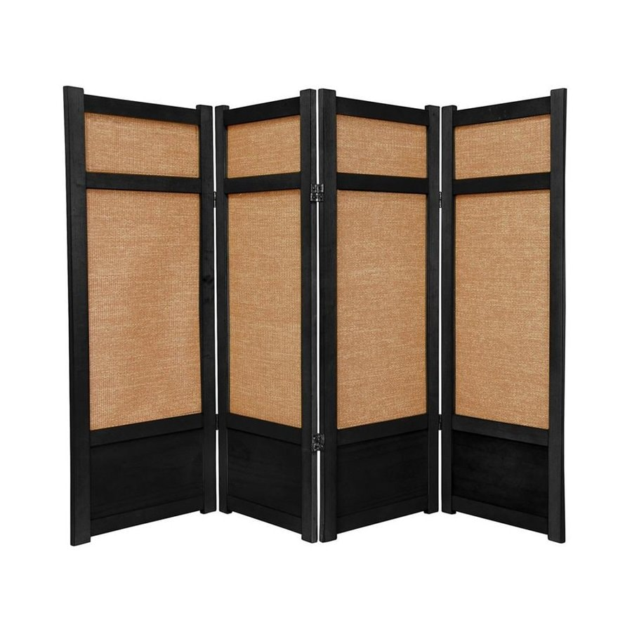 Oriental Furniture Jute 4-Panel Black Wood and Fabric Folding Indoor Privacy Screen