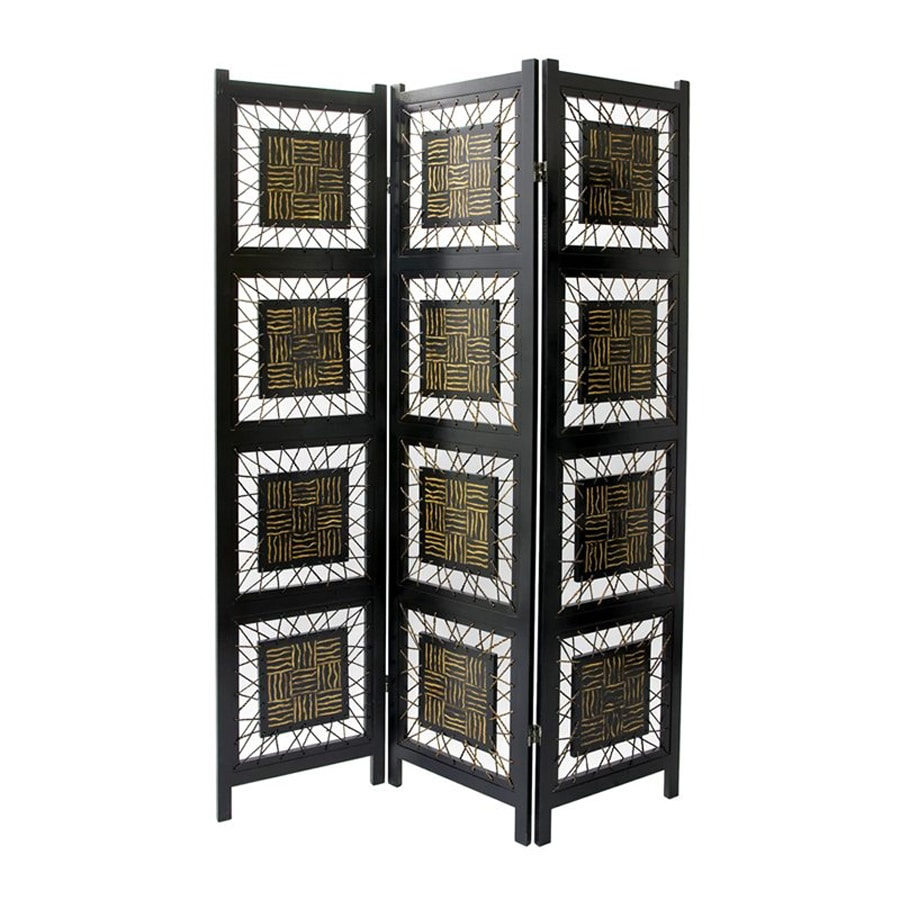Oriental Furniture Coco Twig 3-Panel Black Wood Folding Indoor Privacy Screen