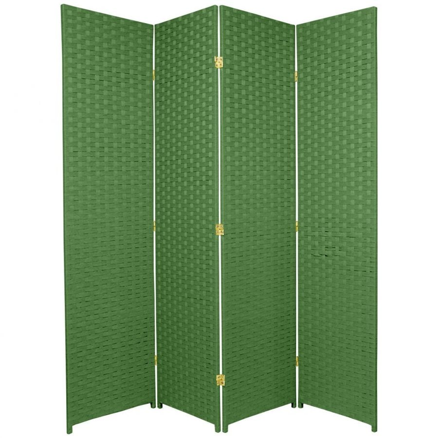 Oriental Furniture 4-Panel Light Green Wood and Rattan Folding Indoor Privacy Screen