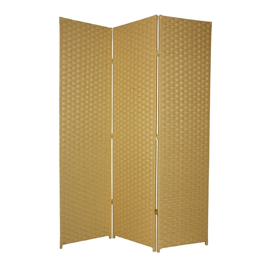 Oriental Furniture 5-Panel Dark Beige Wood and Rattan Folding Indoor Privacy Screen