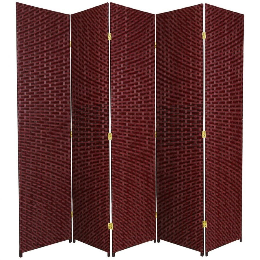 Oriental Furniture 5-Panel Red/Black Wood and Rattan Folding Indoor Privacy Screen