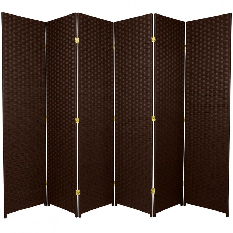 Oriental Furniture 6-Panel Dark Mocha Wood and Rattan Folding Indoor Privacy Screen