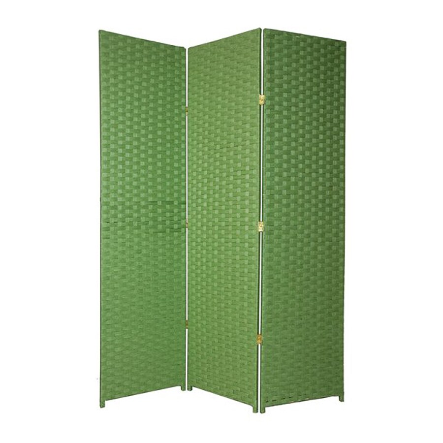 Oriental Furniture 6-Panel Light Green Wood and Rattan Folding Indoor Privacy Screen