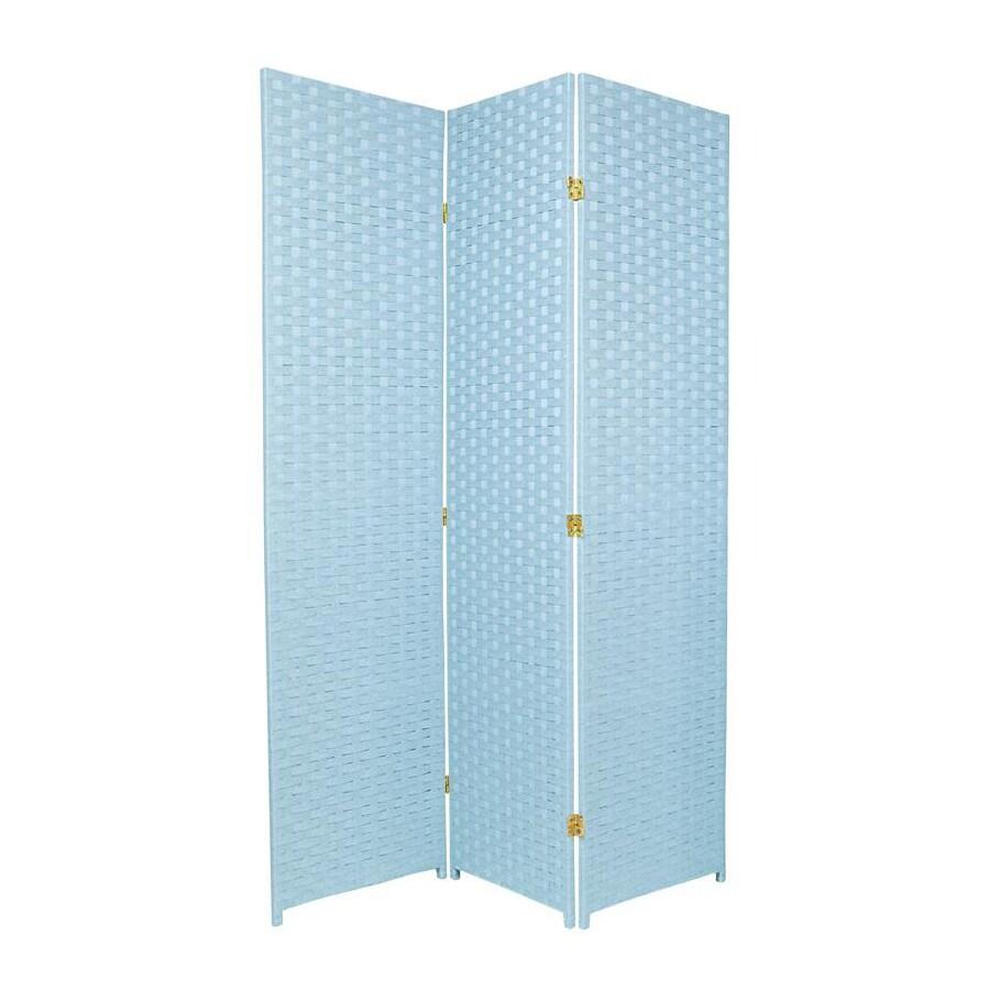 Oriental Furniture 3-Panel Aqua Blue Wood and Rattan Folding Indoor Privacy Screen