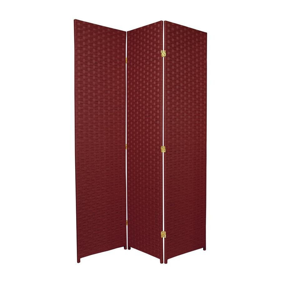 Oriental Furniture 3-Panel Burgundy Wood and Rattan Folding Indoor Privacy Screen