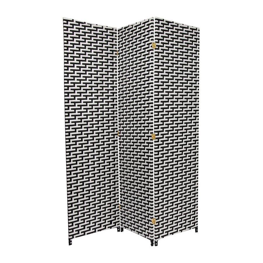 Oriental Furniture 3-Panel Black/White Wood and Rattan Folding Indoor Privacy Screen