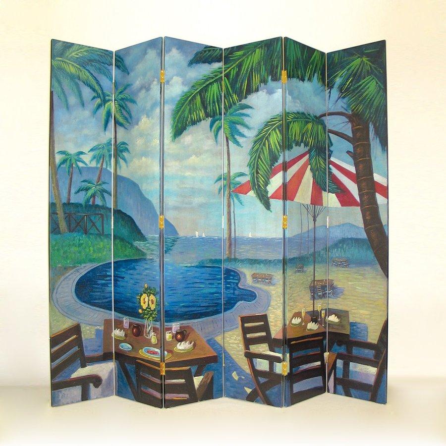 Oriental Furniture Palm Beach 6-Panel Multi Wood Folding Indoor Privacy Screen