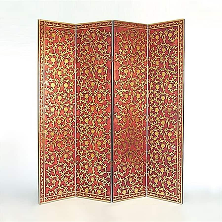 Oriental Furniture Golden Vine 4-Panel Red Wood Folding Indoor Privacy Screen