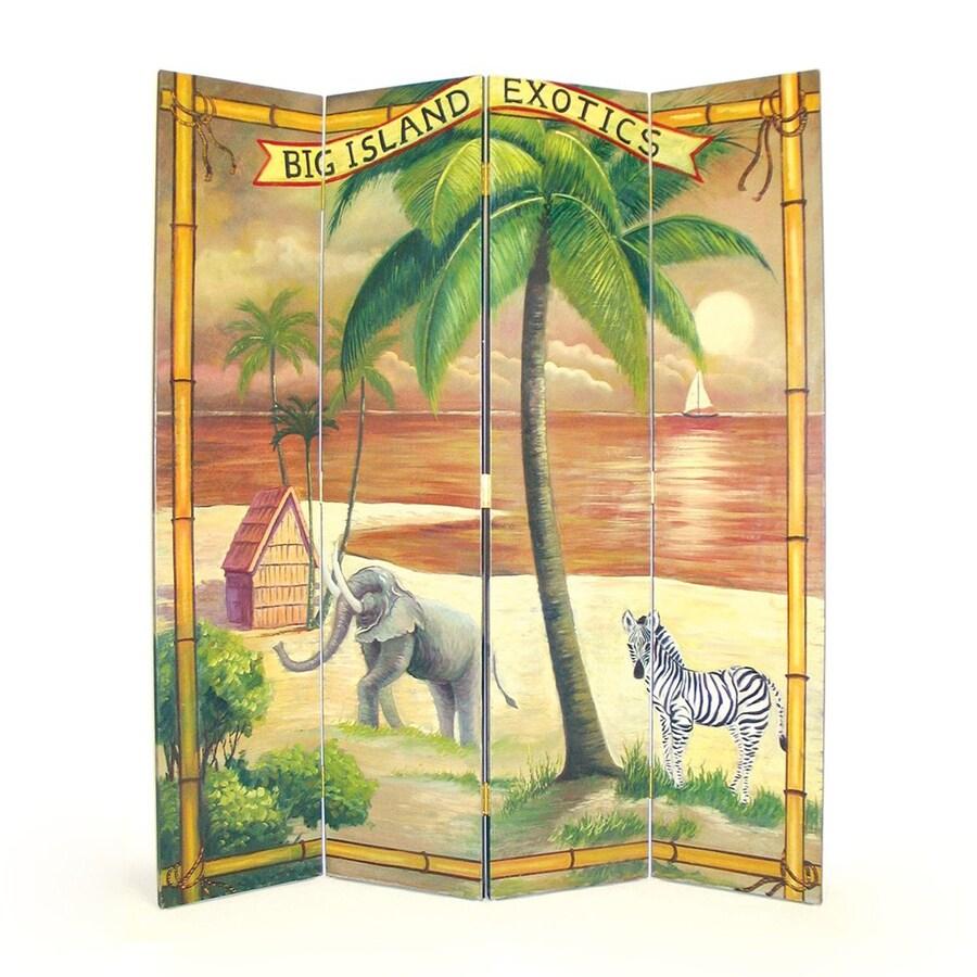 Oriental Furniture Big Island 4-Panel Multi Wood Folding Indoor Privacy Screen