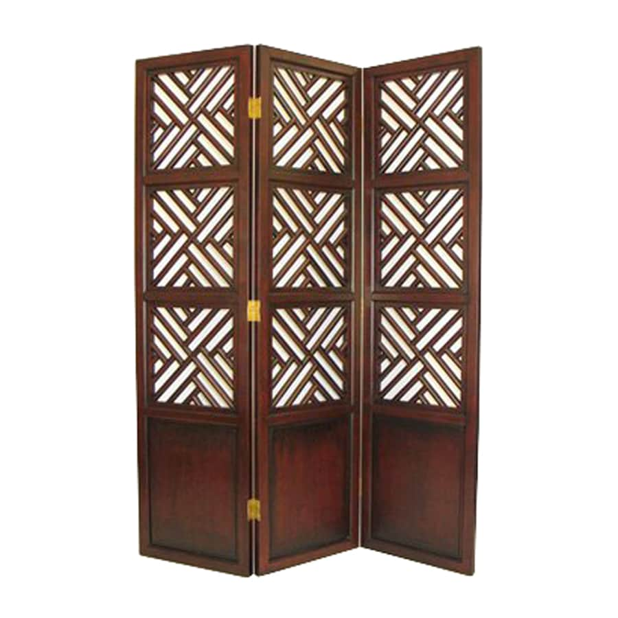Shop oriental furniture lattice 3 panel dark wood wood for Lattice panel privacy screen