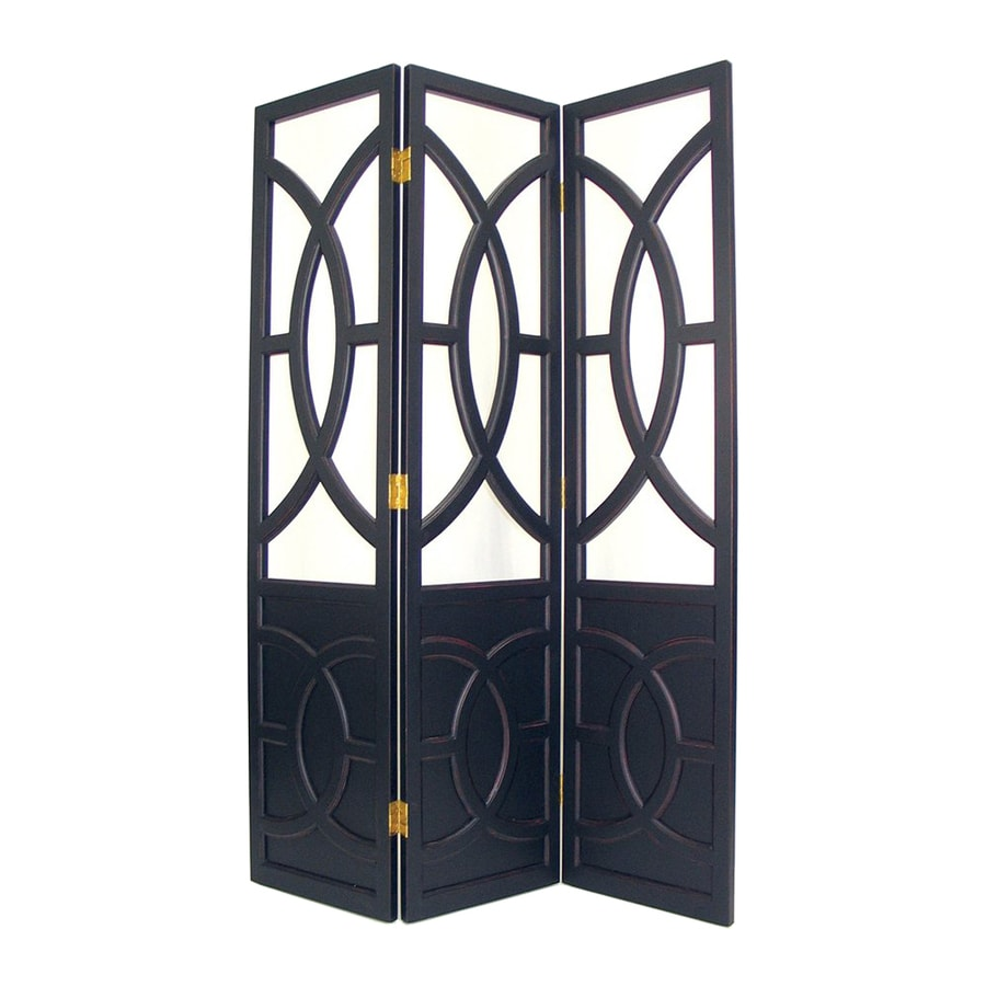 Oriental Furniture Florence 3-Panel Black Wood Folding Indoor Privacy Screen