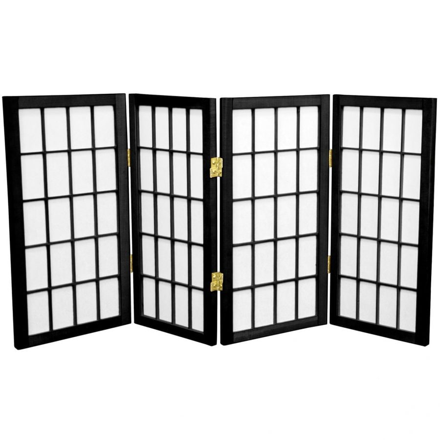 Oriental Furniture Desktop Window Pane 4-Panel Black Wood and Paper Folding Indoor Privacy Screen