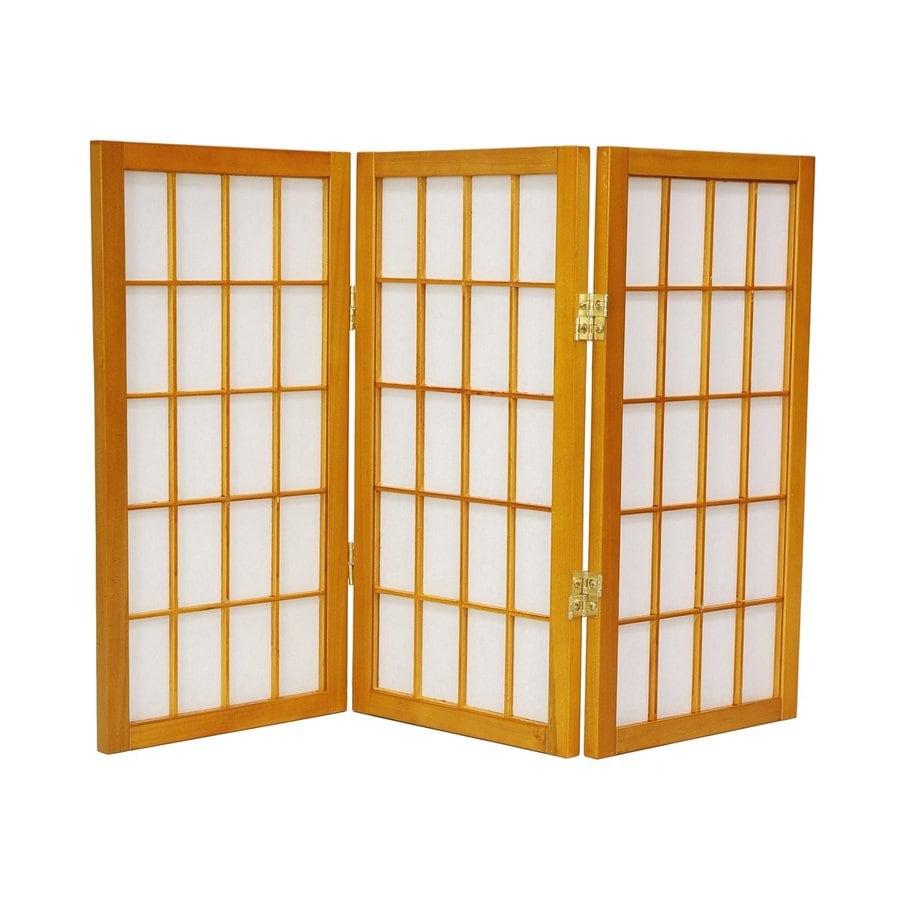 Oriental Furniture Desktop Window Pane 6-Panel Honey Wood and Paper Folding Indoor Privacy Screen