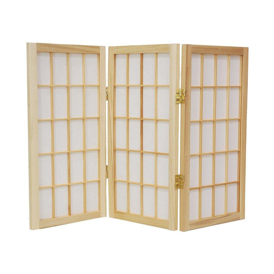Oriental Furniture Desktop Window Pane 5-Panel Natural Wood and Paper Folding Indoor Privacy Screen