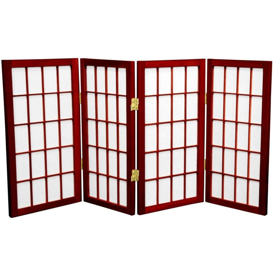 Oriental Furniture Desktop Window Pane 4-Panel Rosewood Wood and Paper Folding Indoor Privacy Screen