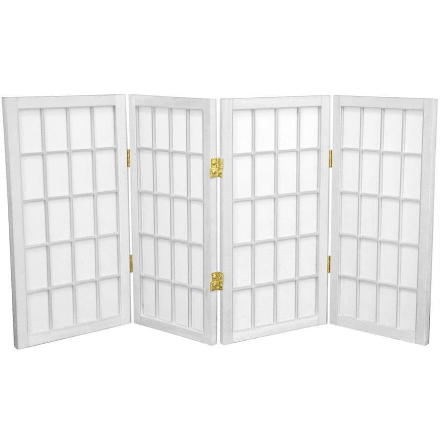Oriental Furniture Desktop Window Pane 4-Panel White Wood and Paper Folding Indoor Privacy Screen