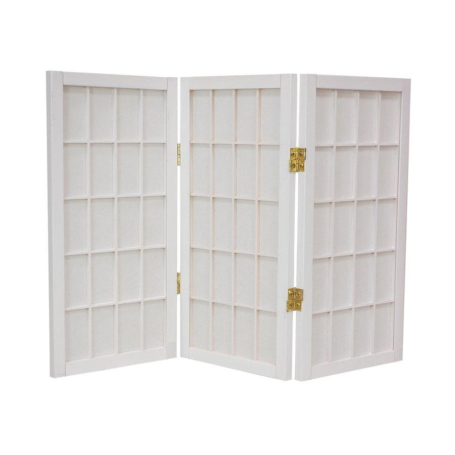 Oriental Furniture Desktop Window Pane 5-Panel White Wood and Paper Folding Indoor Privacy Screen