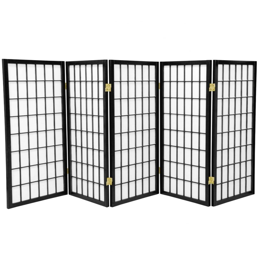 Oriental Furniture Window Pane 5-Panel Black Wood and Paper Folding Indoor Privacy Screen