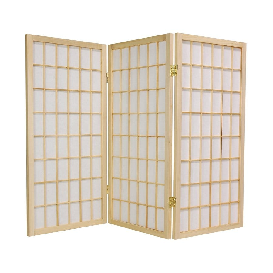 Oriental Furniture Window Pane 4-Panel Natural Wood and Paper Folding Indoor Privacy Screen