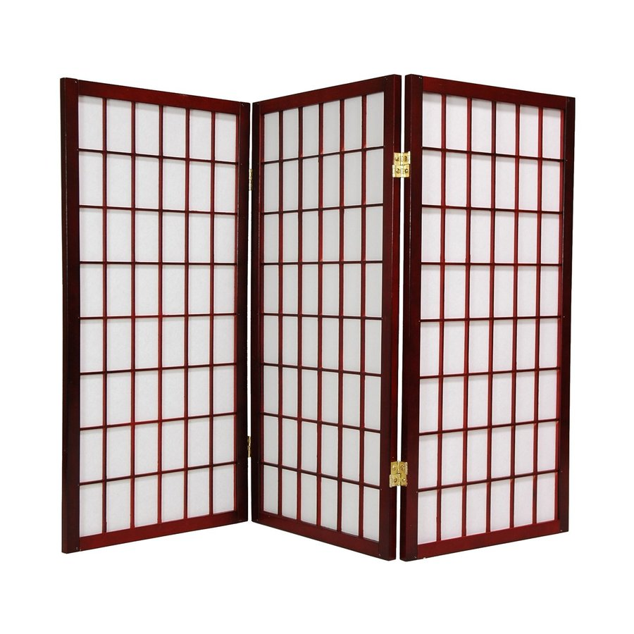 Oriental Furniture Window Pane 3-Panel Rosewood Wood and Paper Folding Indoor Privacy Screen