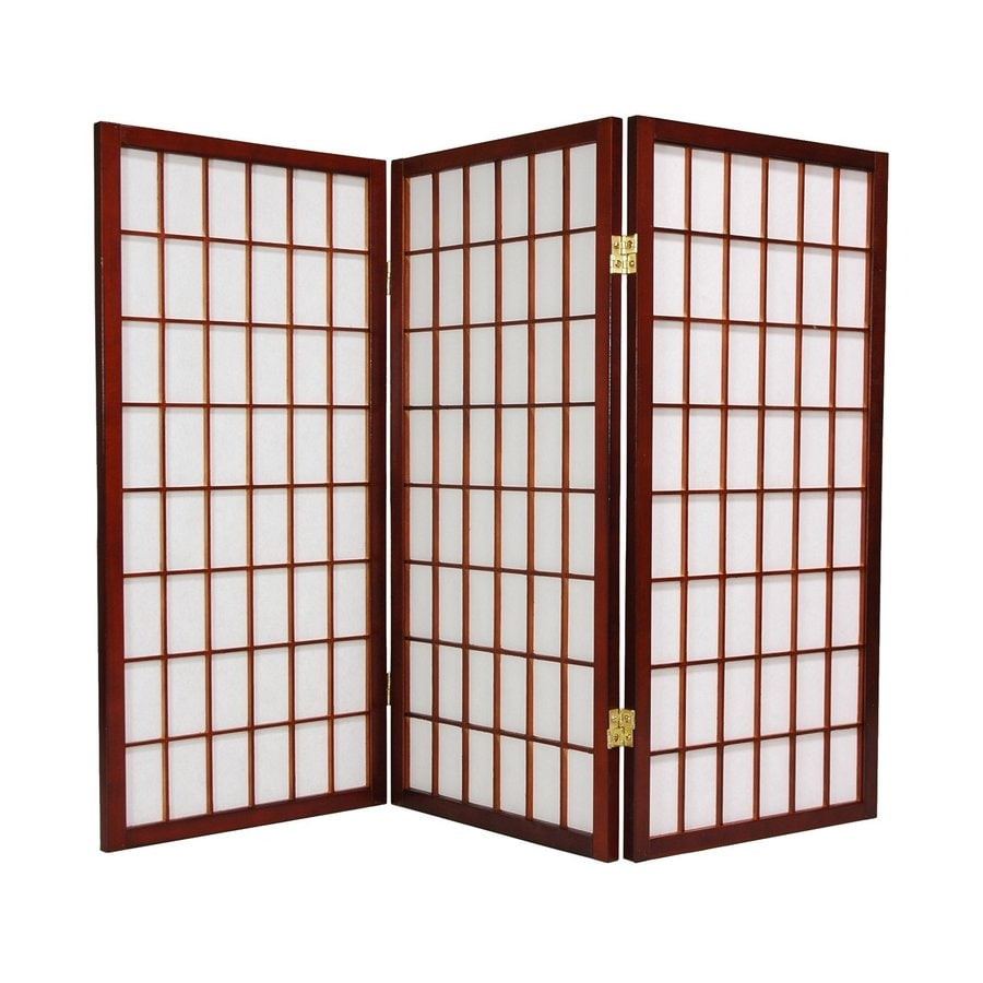 Oriental Furniture Window Pane 3-Panel Walnut Wood and Paper Folding Indoor Privacy Screen