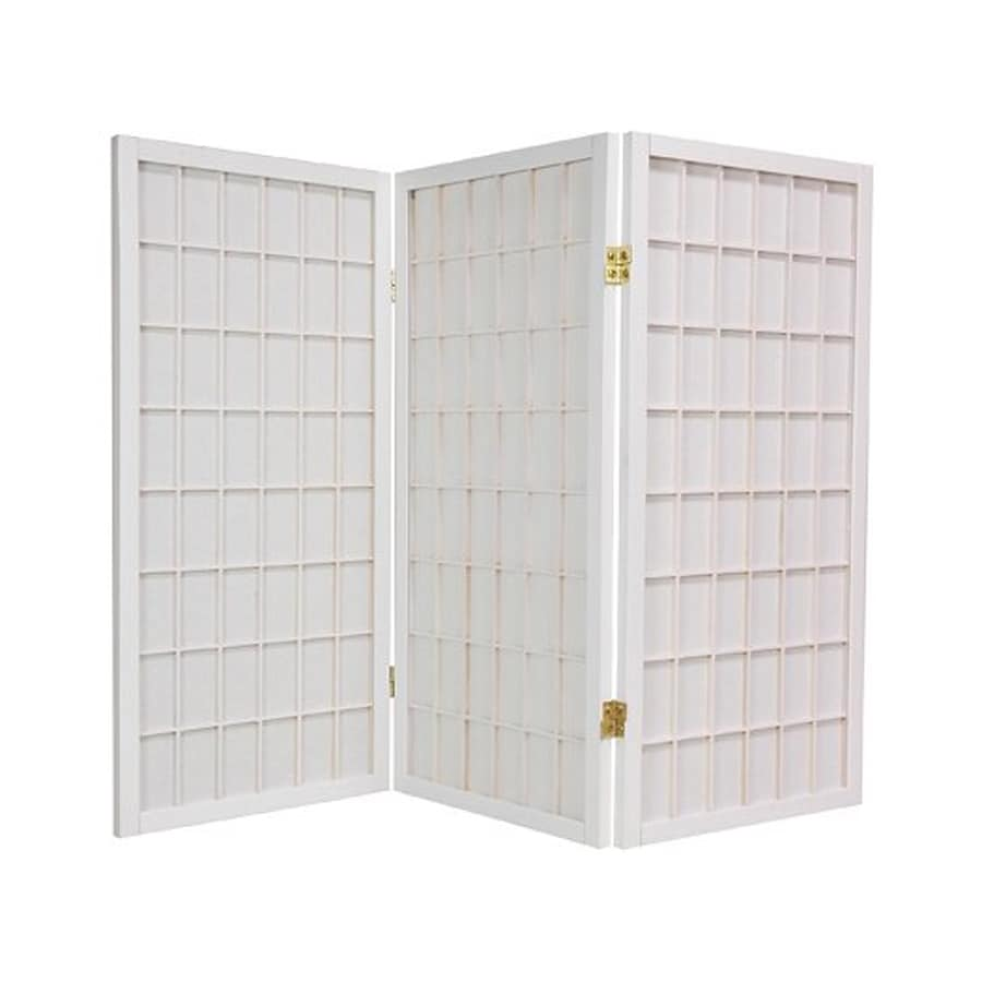 Oriental Furniture Window Pane 5-Panel White Wood and Paper Folding Indoor Privacy Screen