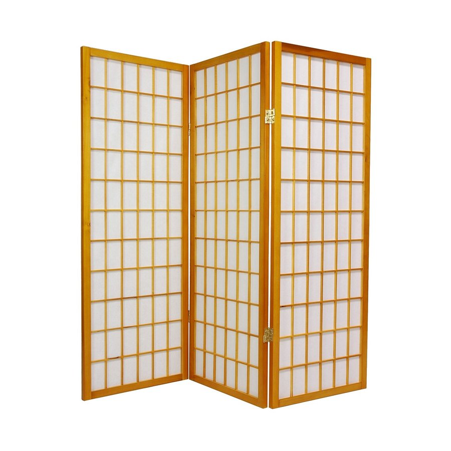 Oriental Furniture Window Pane 6-Panel Honey Wood and Paper Folding Indoor Privacy Screen
