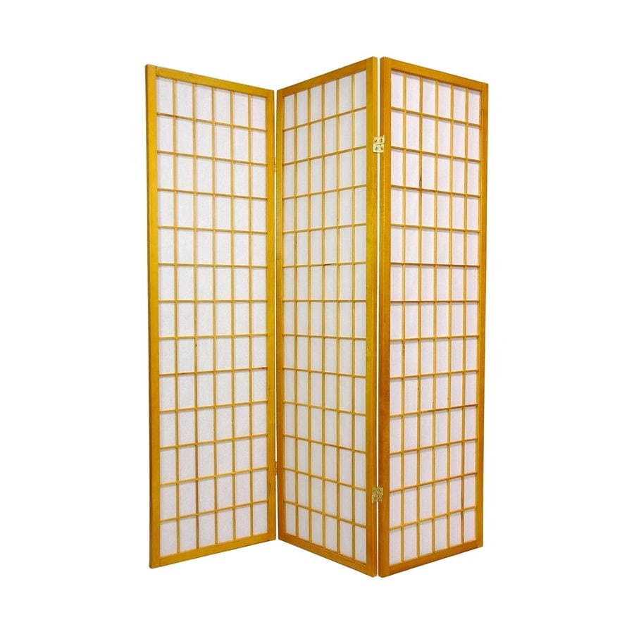 Oriental Furniture Window Pane 3-Panel Honey Wood and Paper Folding Indoor Privacy Screen