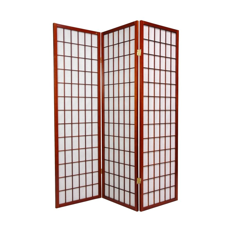 Oriental Furniture Window Pane 5-Panel Walnut Wood and Paper Folding Indoor Privacy Screen