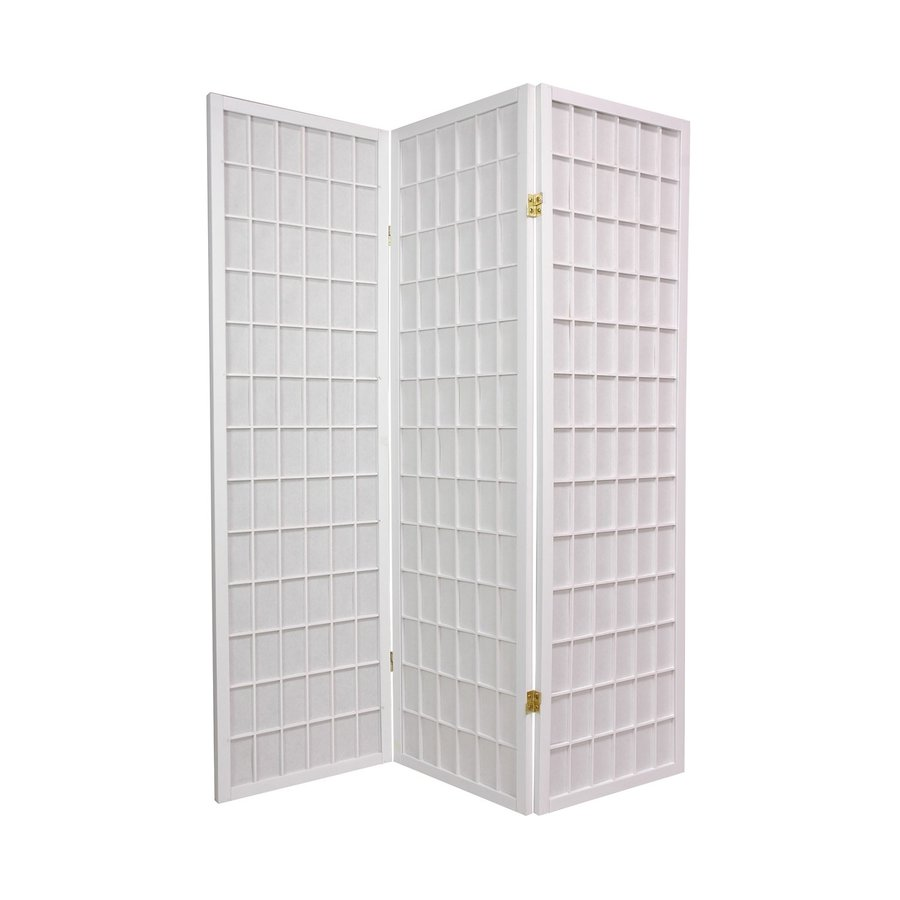 Oriental Furniture Window Pane 3-Panel White Wood and Paper Folding Indoor Privacy Screen