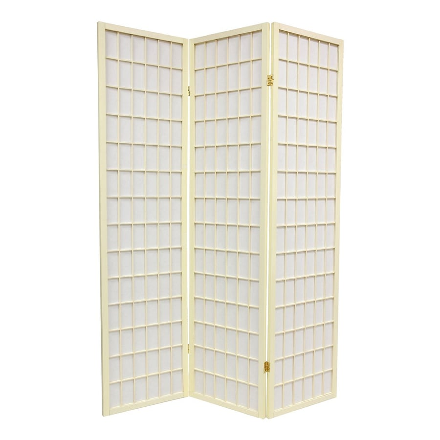 Oriental Furniture Special Edition 3-Panel Ivory Wood and Paper Folding Indoor Privacy Screen