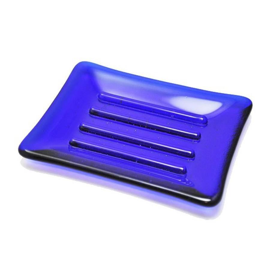 Hot Knobs Solid Cobalt Blue Glass Soap Dish