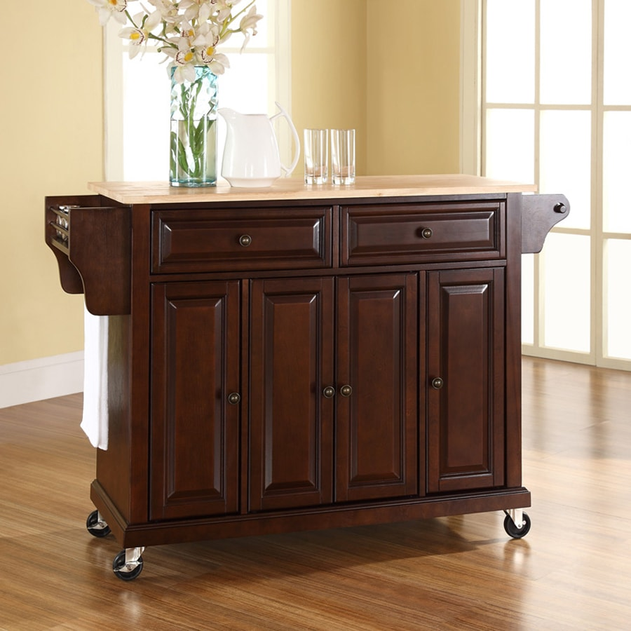 Crosley Furniture 52-in L x 18-in W x 36-in H Vintage Mahogany Kitchen Island with Casters