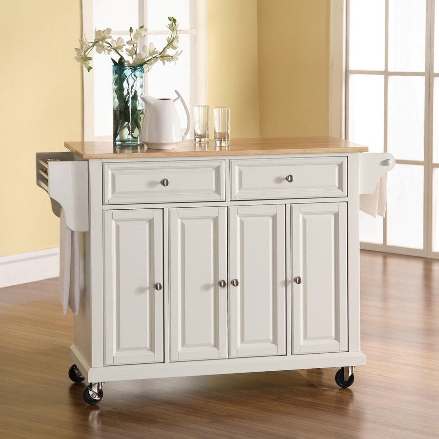 Shop Home Styles Black Scandinavian Kitchen Carts At Lowes Com: Shop Crosley Furniture 52-in L X 18-in W X 36-in H White