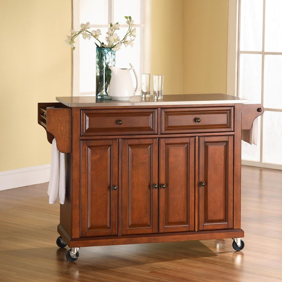 Crosley Furniture 52-in L x 18-in W x 36-in H Classic Cherry Kitchen Island with Casters