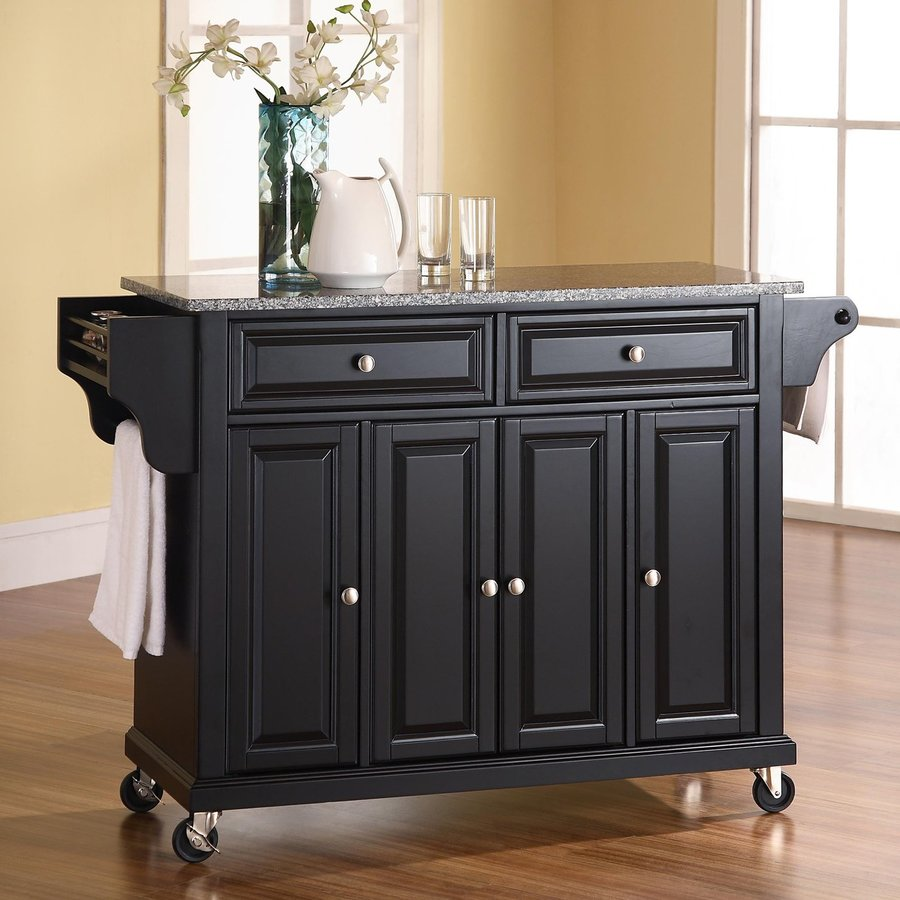 Crosley Furniture 52-in L x 18-in W x 36-in H Black Kitchen Island with Casters