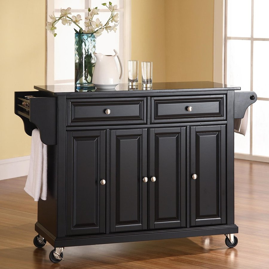 Shop crosley furniture 52 in l x 18 in w x 36 in h black for Kitchen cabinets 36 x 18